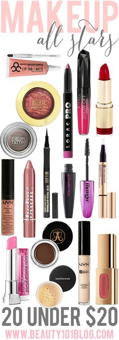 Top 20 makeup products priced $20 and under. Great product recommendations! #beauty #makeup