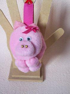 chaveiro de fuxico porquinha rosa