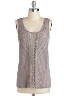 Interlacing Tastes Top - Sheer, Mid-length, Purple, Solid, Crochet, Sleeveless, Casual, Vintage Inspired