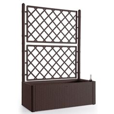 Breakwater Bay Hassan Self-Watering Plastic Planter Box with Trellis Color: Anthracite Planter Box With Trellis, Cedar Planter Box, Plastic Planter Boxes, Metal Wall Planters, Corten Steel Planters, Hanging Planters, Metal Fence, Vinyl Lattice Panels, Fence Panels