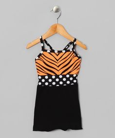 Take a look at this Orange & Black Zebra Tank - Toddler & Girls by Butterfly TREASURES on #zulily today!