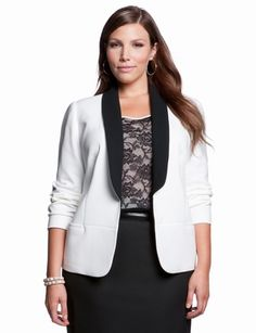 Tuxedo Jacket is a staple for any closet.  Available in Cream/Black or Magenta/Black  (12.12 eloquii)