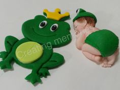 Fondant  BABY With King FROG Cake Topper  Baby.