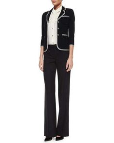 Milano+Pique+Knit+Jacket,+Stretch+Silk+Shell+with+Bow+&+Tropical+Modern+Stretch+Pants+by+St.+John+Collection+at+Neiman+Marcus.