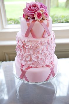Pink ruffle cake by Tempting Cake, with middle tier double depth