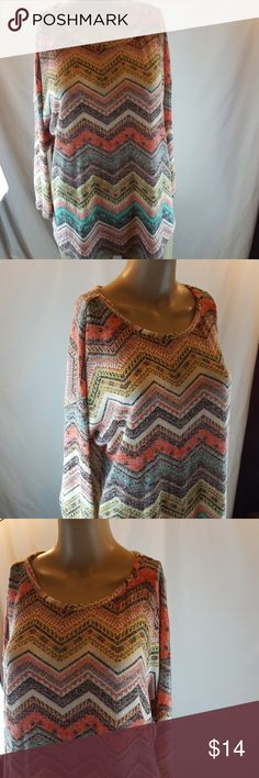 Absolutely Famous shirt XL Women's junior's shirt 3/4 sleeve chevron print coral mint yellow size XL Absolutely Famous Tops Blouses
