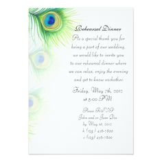 Watercolor Wedding Rehearsal Dinner Hand Painted Peacock Feathers Rehearsal Dinner Card