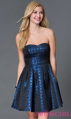 Strapless Sweetheart Fit and Flare Metallic Dress at PromGirl.com
