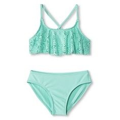 Girls' 2-Piece Crochet Top Bikini Set