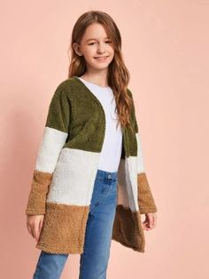 Girls Colorblock Open Front Teddy Coat – Kidenhouse Preteen Girls Fashion, Teenage Girl Outfits, Cute Casual Outfits, Office Fashion Women, Teen Fashion Outfits, Teenager Outfits, Cute Outfits For Kids, Girly Outfits, Outfits For Teens