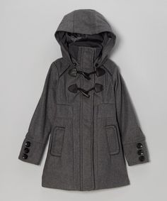 Look what I found on #zulily! Charcoal Toggle Hooded Coat - Toddler & Girls by Yoki #zulilyfinds