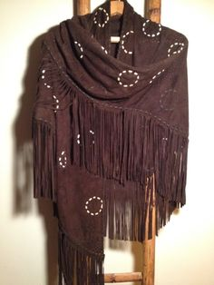 Perforated Suede Shawl w/ Fringe