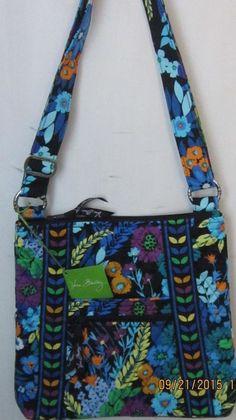 Vera Bradley Vivid Blue Black Flower Quilted Shoulder Hipster Tote Purse Handbag #VeraBradley #TotesShoppers