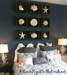 Unique Wall Decor with Cast Sea Life Shadow Boxes -Shop the Look: http://www.completely-coastal.com/2013/04/wall-decor-sea-life-shadow-boxes.html