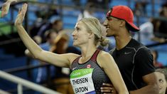 FILE - In this Aug. 13, 2016, file photo, Canada's Brianne Theisen Eaton is greeted by husband Ashton Eaton, right, after the women's heptathlon 800-meter heat during the athletics competitions of the 2016 Summer Olympics at the Olympic stadium in Rio de Janeiro, Brazil. Two-time Olympic decathlon gold medalist Ashton Eaton and heptathlete Brianne Theisen-Eaton have announced their retirements, Wednesday, Jan. 4, 2017, in side-by-side essays on their website. Considered the first family of…