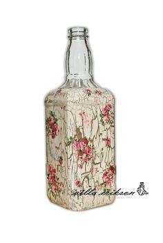 Vintage Romantic Roses Bottle. $28.00, via Etsy.