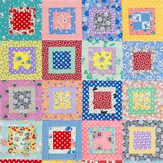 """Like shortcuts? A charm pack is perfect for this scrappy table topper's 2-1/2""""squares and narrow strips. Fabrics are from Judie Rothermel's Aunt Grace collection for Marcus Fabrics from Fat Quarter Shop."""