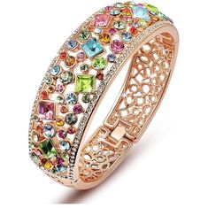 Qianse Party Queen Bangle Bracelet Made With Multicolor Austrian Preciosa Crystals - accessories - Modes Gold Plated Bangles, Silver Bracelets, Bangle Bracelets, Diamond Bracelets, Bridal Jewelry, Gold Jewelry, Women Jewelry, Fashion Jewelry, Jewelry Shop