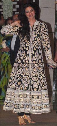 Boolywood actress tabu looking elegant in chikan suit designed by abujani &sandeep khosla.