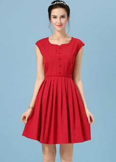 Heart-shaped Collar With Buttons Pleated Maroon Dress 18.33
