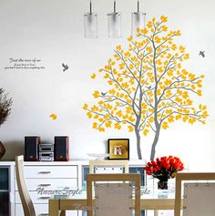 Two Trees with Flying Birds Vinyl Wall by NatureStyle. Lovin' it!