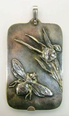 Antique victorian bee & flower .925 howard sterling silver dance card pendant