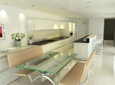 All white works because of the contrasting blackish speckled counters. Don't like the furniture.