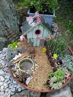 Fairy garden with gravel path