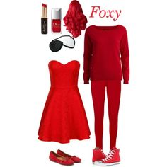 FNAF- Foxy by living-in-a-small-world on Polyvore featuring Belleza, Forever 21, Chi Chi, VILA, Converse, Salvatore Ferragamo, fivenightsatfreddy and LIASW