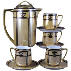 Rosenthal Selb Bavaria Donatello Art Deco Chocolate/Coffee Pot & Cups/Saucers (c.1907-1940)