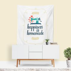 White Wall Art, Inspirational Quote, Retro Decor,  Floral Pattern, Cottage Chic, Quilt Art, DIY Art, Craft Decor, Happy Art, White Fabric - 60x80