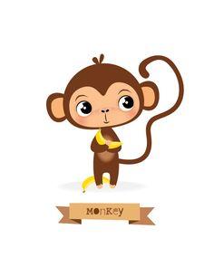 Nursery art Monkey print kids illustration by IreneGoughPrints Safari Nursery, Animal Nursery, Nursery Prints, Nursery Wall Art, Nursery Decor, Monkey Illustration, Image Deco, Cute Monkey, Baby Prints
