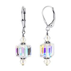 SCER053 925 Sterling Silver Clear Drop Handmade Earrings Made with Swarovski Crystal Elements ** You can get more details by clicking on the image.