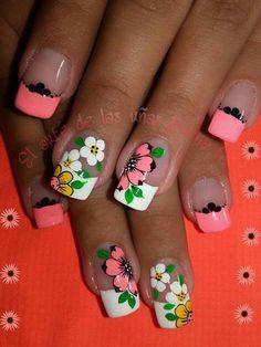 Uñas Pretty Nail Art, Cute Nail Art, Hot Nails, Hair And Nails, Nail Polish Designs, Nail Art Designs, Spring Nails, Summer Nails, Flower Nail Art
