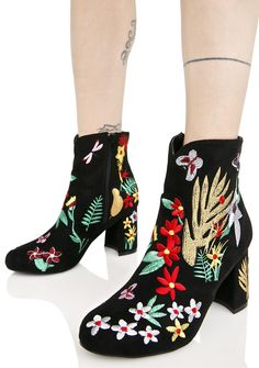 Forget Me Not Embroidered Boots cuz yer the only thing on their mindz, babe. Feel that flower power with these booties that feature a black vegan suede construction, block heel, inside zipper closure, and a colorful floral print all over.
