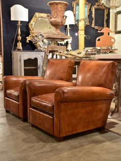 Pair Of Leather Club Chairs   Taittinger