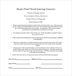 catering contract agreement   Catering/event inspiration ...