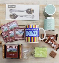"Best Gift for Dad - a ""Tea-riffic Dad Gift Box"" only $29.95. This amazing value gift hamper is perfect for the dad who likes to take a tea break from it all, and includes a 355ml ""World's Greatest Dad"" Mug,  Green Tea Candle, Tilley's Soap, Tea bag charm, Tea from Madura, and 2 x snack size Tim Tams"