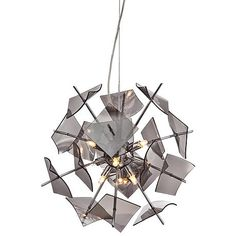 A modern chrome finish pendant lighting design with nine bright halogen lights.
