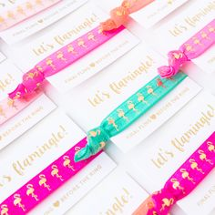 Our hair tie cards are the perfect favor for your fiesta bachelorette or pool party! Or taco party. Everyone loves a taco party. Bachelorette Favors, Let's Flamingle, Aqua, Teal, Taco Party, Tropical Party, Hair Ties, Big Day, Bride