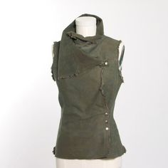 Olive Green Sleeveless Snap Cowl Neck Vest by MiloCreativeStudios