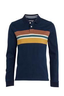 00ea7bfc99 FatFace Dark Ink Chest Stripe Organic Cotton Polo Blue Polo Shirts