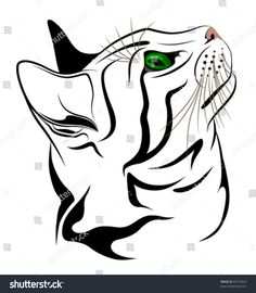 The little kitten with green eyes Cat tattoo Tattoo Chat, Line Drawing Images, Outline Illustration, Cat Quilt, Cat Silhouette, Silhouette Drawings, Pintura Country, Little Kittens, Cat Drawing