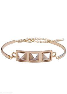 Pretty Pyramid Bracelet   two-toned silver + gold spiked pyramid bracelet   JewelSugar.com