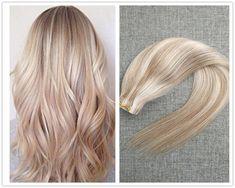 Blonde Highlight Remy Human Hair Keratin Fusion Tape-in Seamless Hair Extension #Ugea #SeamlessSkinWeftTapeinHairExtensions