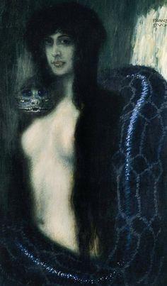 The Sin, 1893 - Franz von Stuck (23 de febrero de 1863, Tettenweis, Alemania--30 de agosto de 1928, Múnich, Alemania ).Corrientes artísticas: simbolismo y del art nouveau. Palermo GAM