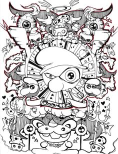 Click for a larger view Kids Printable Coloring Pages, Love Coloring Pages, Coloring Books, Wall Paint Patterns, Painting Patterns, Monster Coloring Pages, Fantasy Posters, Doodle Characters, Cool Doodles
