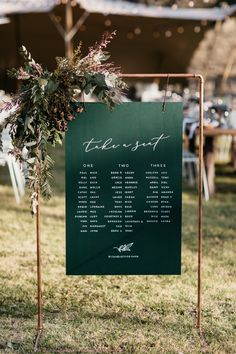 Hunter green industrial wedding seating chart soft romantic outdoor wedding at seven springs lindsey john Industrial Wedding, Copper Wedding, Rustic Wedding, Floral Wedding, Seating Plan Wedding, Wedding Signage, Seating Plans, Wedding Seating Charts, Reception Seating Chart