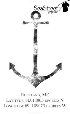 Town long/lat distressed anchor tee design(or tea towel). Done in Illustrator and Photoshop for SeaStreet Graphics.