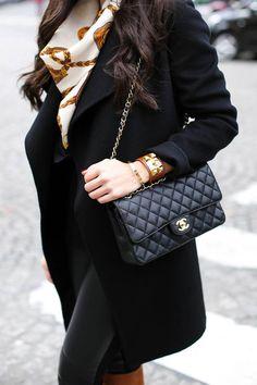 Weekends in Paris - Joseph coat // Vintage scarf Ralph Lauren leggings // Autumn Cashmere sweater Sergio Rossi boots // Hermes cuff // Chanel bag Monday, January 5, 2015
